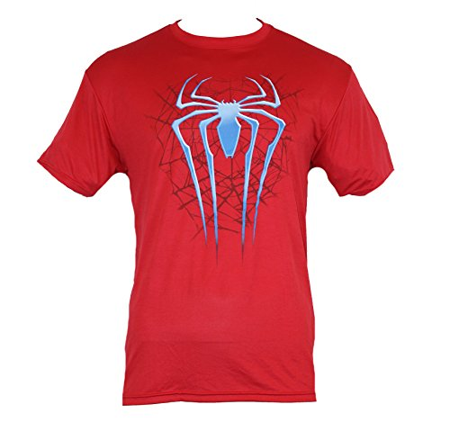 Spider-Man Moisture Wicking Mens T-Shirt - Two Tone Long Spider Logo Over Web (Extra Large) Light Heather Red