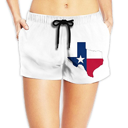 Xush Texas Flag Womens Shorts Swim Trunks Quick Dry Beach Shorts with Pockets for Surfing Running Swimming Watersport