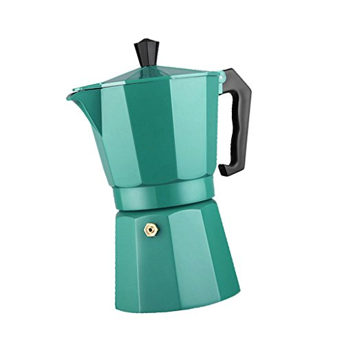 MonkeyJack HANDMADE Moka Pot Aluminum Coffee Maker Espresso Percolator Cappuccino 240ML - Green, 9.2x11x20cm