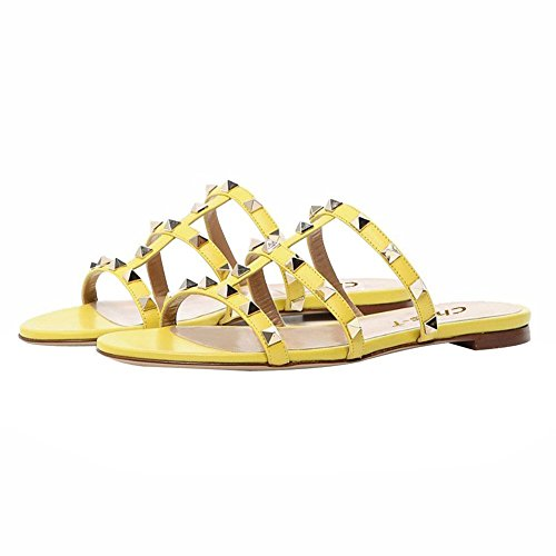 Rivets US Yellow Chris 14 T Sandals Slides 5 Studded Womens Rockstud Flats Slippers Dress Backless Strappy Mules Gladiator TwIqaZwxr