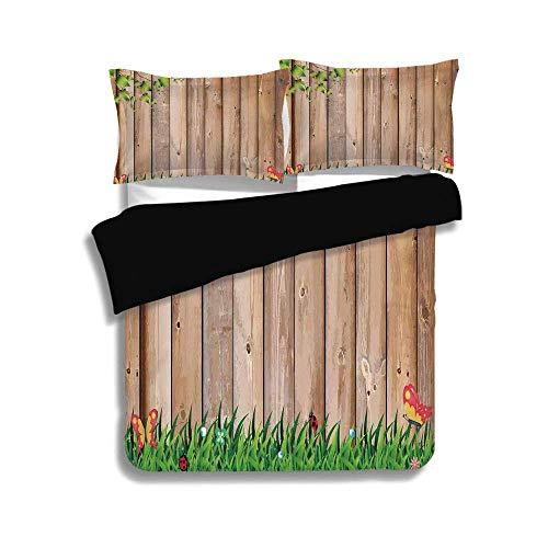 CANCAKA Premium Black Duvet Cover Set Full Size,Farm House Decor,Fresh Spring Season Jardin with Butterflies and Ladybugs in Park Scene Artwork,Multi,3 Pcs Bedding Set 2 Pillow Shams ()