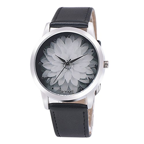 Womens Quartz Watches COOKI Clearance Analog Female Watches on Sale Comfortable Leather Lady Watches-H74 (Black)