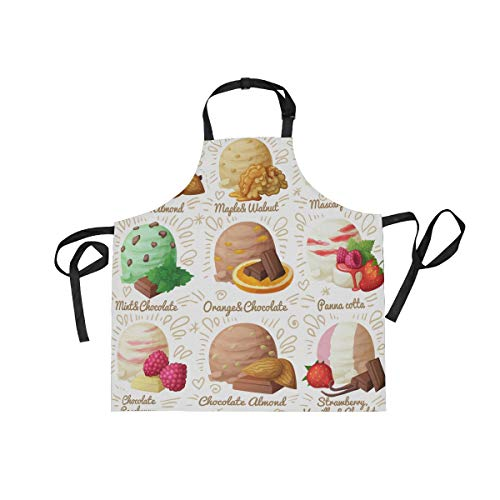 senya Ice Cream Scoops Kitchen Bib Aprons Adjustable Neck with 2 Pockets Cooking Baking Gardening Chef Apron for Women and Men
