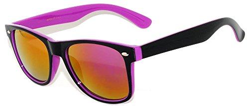Retro Vintage Black & Purple Two-Tone Sunglasses Full Mirror - Retro Cycling Sunglasses