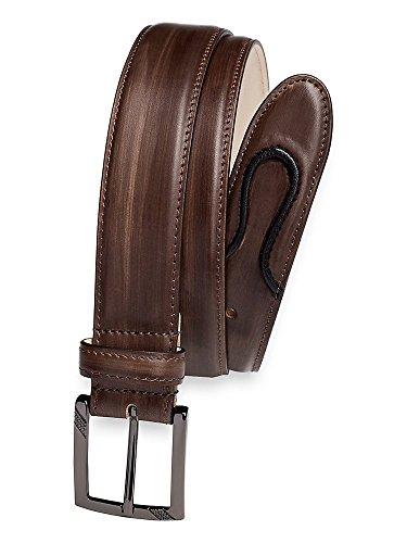 Paul Fredrick Men's Dayton Leather Belt Charcoal 38