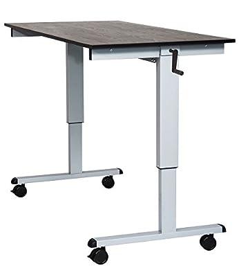 "Luxor Home Office SC-48-AG/BO-1PK 48"" Crank Adjustable Stand Up Desk Black Oak -1 Pack"