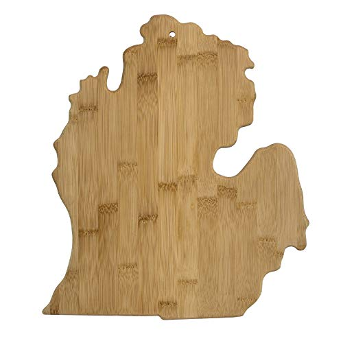 (Totally Bamboo 20-7951MI Michigan State Shaped Bamboo Serving & Cutting Board)