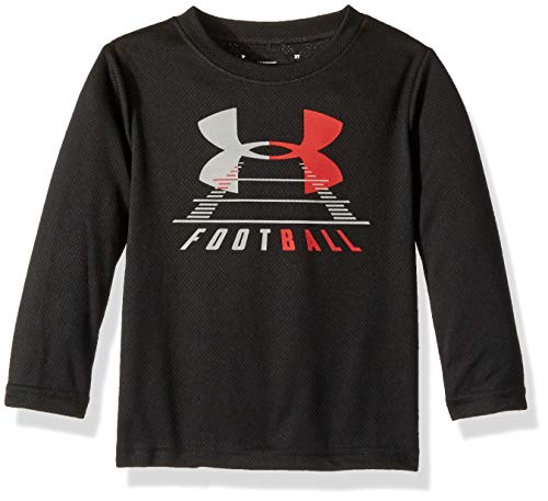 (Under Armour Boys' Little Long Sleeve Graphic Tee Shirt, Black Football)