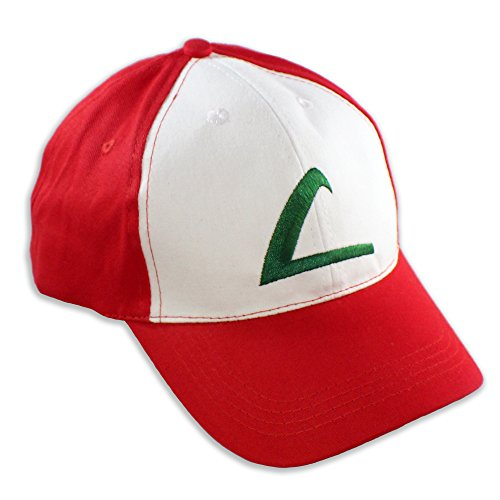 (PLAYOLY Ash Ketchum Party Cosplay Trainer Hat - Cool Baseball Cap Accessory - Unisex One Size Fits Most Adjustable Snapback with Embroidered)
