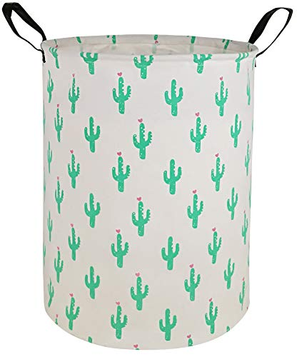 KUNRO Large Sized Round Storage Basket Waterproof Coating Organizer Bin Laundry Hamper for Nursery Clothes Toys(Green Cactus)