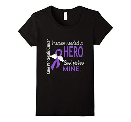 Angel Pancreatic Cancer T-shirts (Womens Pancreatic Cancer Shirt Heaven Needed a Hero God Picked Mine Large Black)