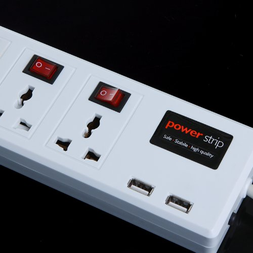 Kingzer New 6-Outlet Power Manager 2 USB Charger Port 1.8M Power Strip Surge Protector from KINGZER
