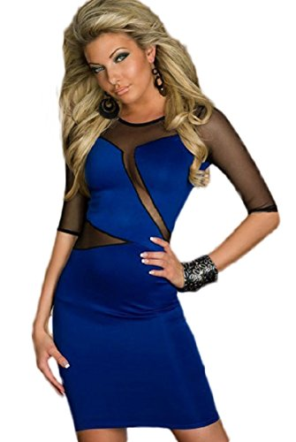New Damen Royal Blau amp; Schwarz Sheer MeshEinsatz Mini Kleid Club ...