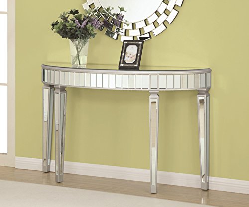 Coaster Home Furnishings Half Oval Mirrored Console Table Silver - Demilune Console Table Glass