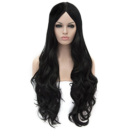 Flovex Women Long Wavy Cosplay Wigs Ladies Sexy Natural Costume Club Party Daily Hair with Wig Cap (Black)