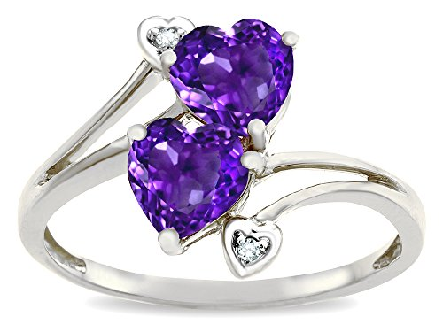 Star K 6mm Genuine Amethyst Two Double Hearts Bypass Promise Ring 10 kt White Gold Size 5