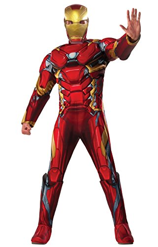 [Marvel Men's Captain America: Civil War Deluxe Muscle Chest Iron Man Costume, Multi, One Size] (Black Widow Halloween Costume Iron Man 2)