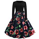 DaySeventh Clothes Women Vintage Print Long Sleeve Casual Evening Party Prom Swing Dress
