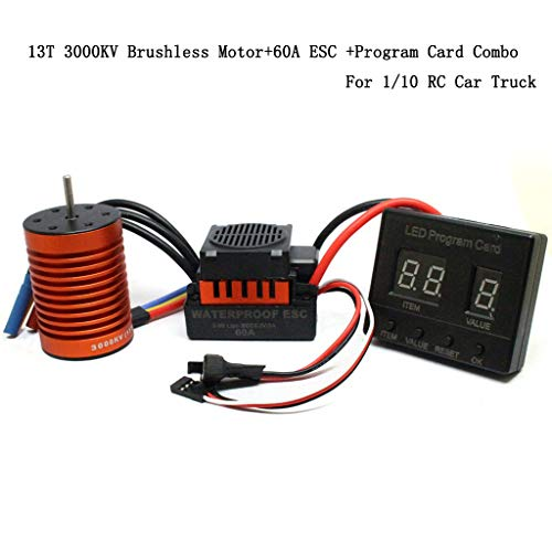 - Livoty RC Car Spare Parts High Speed Accessories 13T 3000KV Brushless Motor w/60A ESC w/Program Card 3 Set Combo Kit for 1/10 RC Car Truck