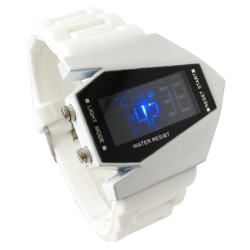 YouYouPifa Airplane Style Digital Display LED Rubber Strap Wrist Watch - Strap Display Rubber