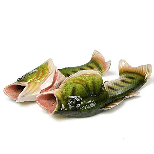 Creative Fish Slippers Man Handmade Fish Sandals Men Bling flip Flops Slides (Male 10-11) ()