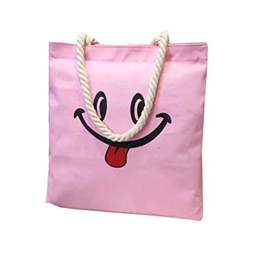 CTOOO-Bolsos De Mujer, Bolso Bandolera Lona Shopper Tote Impresión De Cara Sonriente rosa4