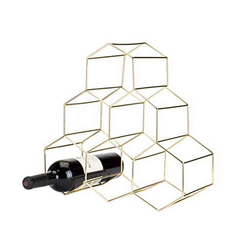 Viski 5213 Belmont Geo Rack Freestanding Wine Racks & Cabinets, One Size, Gold