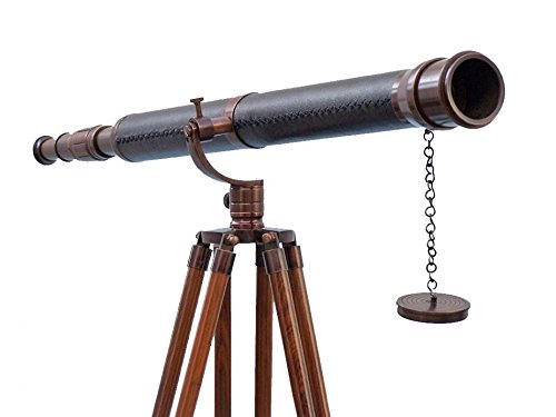 Floor Standing Antique Copper With Leather Galileo Telescope 65\