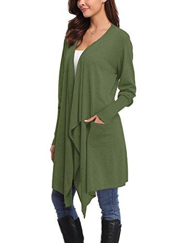 Abollria Damen Strickjacke Lang Cardigan Casual Langarm Wasserfall Jacke Asymmetrisch Schnitt mit Seitentaschen Grün O0becVdk