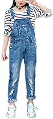 Girls Big Kids Distressed Denim Overalls Blue Jeans Strecthy Ripped Jeans Romper