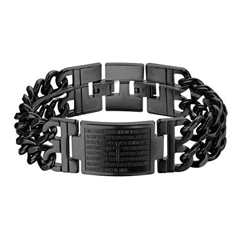 U7 Men Personalized Biker Link Bracelet Stainless Steel Black Double Cuban Chains Cross Lords Prayer Wristband Bangle
