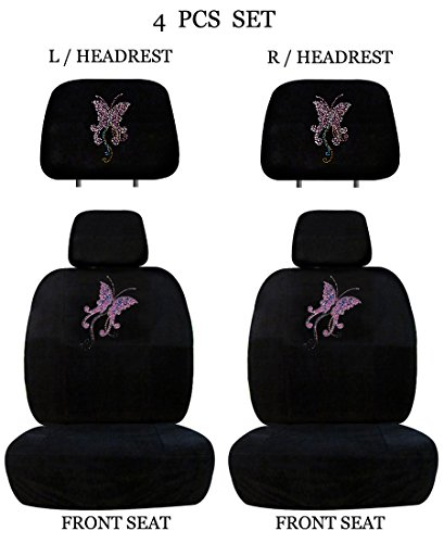 ALLBrand Universal Fit Front 4-Piece Full Set Crystal Bling Rhinestone Studded Low Back Front Bucket Seat Cover with Separate Headrest Cover (Pink Butterfly/Black) ()