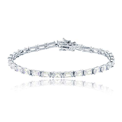 Decadence Women's Sterling Silver Rhodium Baguette Tennis Bracelet, 7 (Rope Baguette Bracelet)