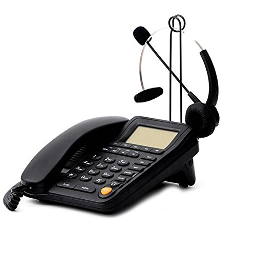Corded Telephone Headset Jack - HePesTer P-017BN Call Center Corded Phone and Headset with Caller ID Speakerphone Home Office Business Telephone