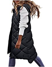 Women's Long Coat Vest With Hood Sleeveless Warm Down Coat With Pockets Quilted Vest Down Jacket Quilted Outdoor Jacket