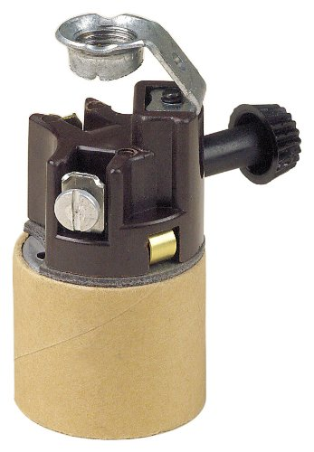 Leviton 9805-A Medium Base, One-Piece, Candle Sockets, Incandescent, Phenolic Lampholder, Brown
