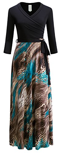 Plus Size Peacock Dress (URBAN K Women's Plus Size Peacock Print 3/4 Sleeve Maxi Dresses)