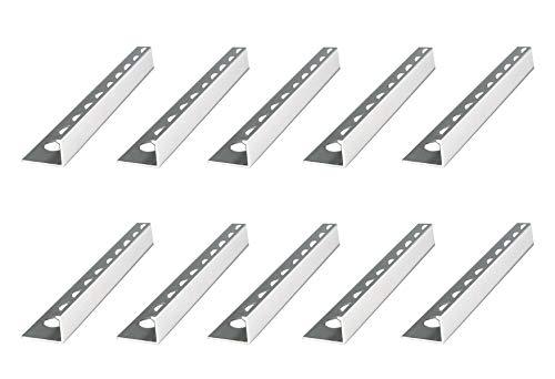 50 Meters – Height: 10mm Premium Fuchs Tile Trim Straight Edging Aluminium Silver matt – 1mm Thickness – 250cm Tile Trim