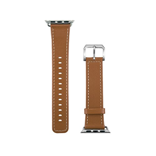 End Scene Sport Band for Apple Watch 38mm, Leather Caramel Soft Silicone Strap iWatch Replacement Band for Apple Watch Series 3, Series 2, Series 1