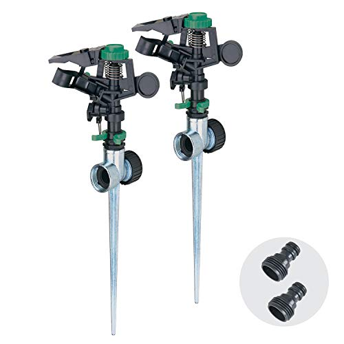 Melnor 65113-AMZ 2 Pack Pulsating Sprinklers on Metal Spike with 2 pc QuickConnect Product Adapters Amazon Bundle