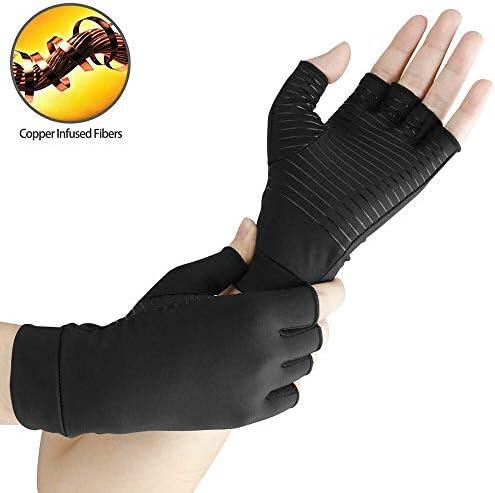 女性と男性用の銅圧迫関節炎用手袋、コンピュータタイピングと日常作業用の指なしデザイン、手痛の緩和とサポート(3ペア)