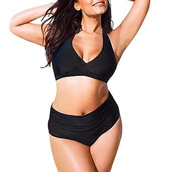 181a1ce14f LUBITY Bikini Femme Taille Haute Système de Couleur Unie avec Maillot de Bain  Grande Taille Chic Sexy Sport Maillot de Bain Beach Party Casual Bikini: ...