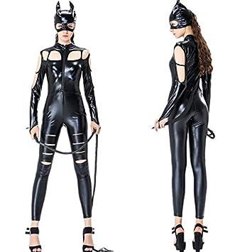 GYH Disfraz De Mujer Sexy Negro Catwume Traje Traje De Látex ...