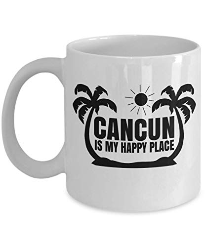(Cancun Is My Happy Place Palm Print Mexico Travel Themed Coffee & Tea Gift Mug, Pen Cup, Souvenir, Ornament, Collection Items, Décor, Accessories, Birthday Gifts And Novelties For A Traveler (15oz))