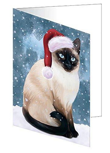 Let It Snow Christmas Happy Holidays Thai Siamese Cat Greeting Card GCD930 (10)