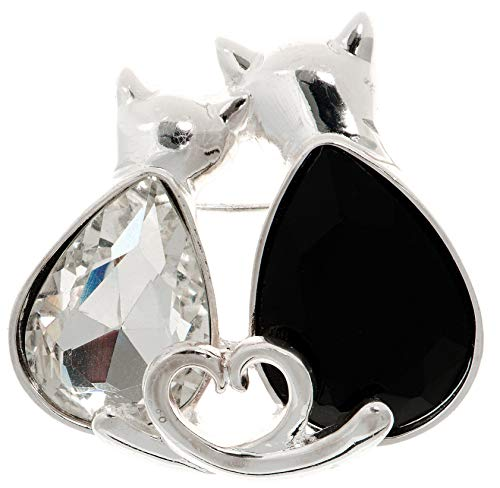 Pet Friends Jet Black & Multi-Faceted Clear Stone Cats Pin One Size Silver Tone/Black - Tone Jet Faceted Silver