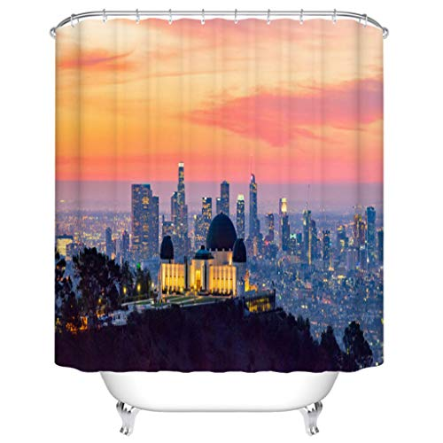 BEISISS Home Shower Curtain Los Angeles Skyline at Dawn Panorama and Griffith Park Observatory in The Foreground Bathroom Accessories Include: Shower Curtain Hook - Shower Curtain Set ()