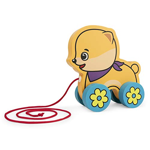 Bimi Boo Pull Toy - Wooden Baby Push Along Toys - Cute Dog on Wheels for Toddlers - Gifts for 2 Year Old Girl or Boy
