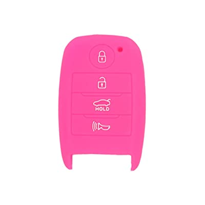 SEGADEN Silicone Cover Protector Case Skin Jacket fit for KIA 4 Button Smart Remote Key Fob CV4150 Rose: Automotive