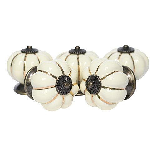 Ceramic Cabinet Knobs, Ivory Pumpkin Dresser Drawer Pulls, Handles, 12 PACK